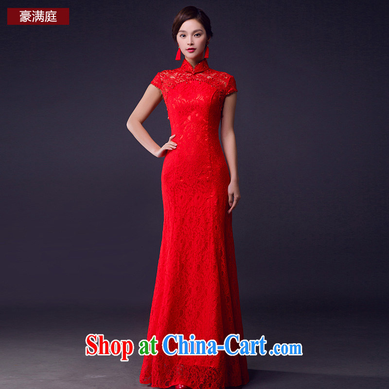 Bridal toast clothing spring and summer lace breathable comfort micro Stretch Dress short-sleeved wedding Evening Dress red wedding red L