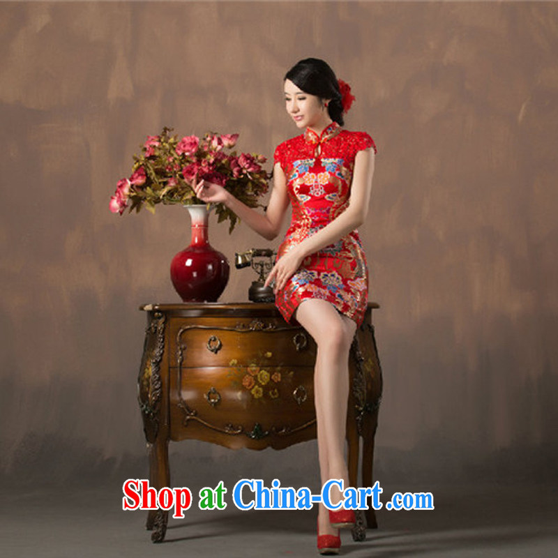 2015 spring and summer new traditional wedding dress evening night red improved cheongsam short Evening Dress beauty serving toast sexy aura female Red XXL
