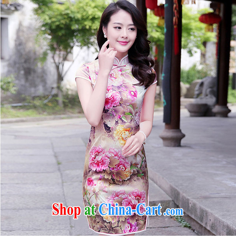 The product is still not thick 2015 summer New Beauty lady retro country color day Hong Kong Peony stamp is withholding sauna silk Silk Cheongsam dress pink Peony xxl