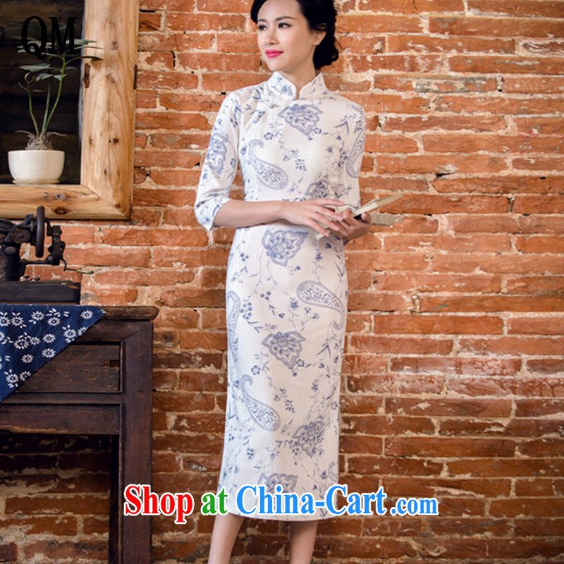 light at the Arts linen dresses hand-tie stylish short-sleeve long-dresses Lao JT 2061 blue lotus color XXL