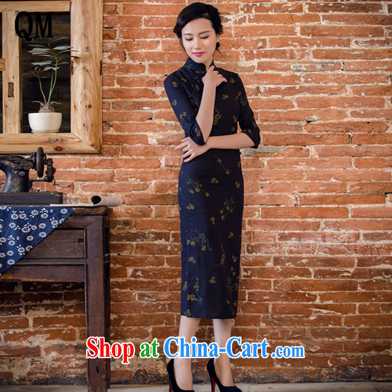 Shallow end female literary linen dresses hand-tie stylish short-sleeve long-dresses Lao JT 2061 Samui Tsing XXL
