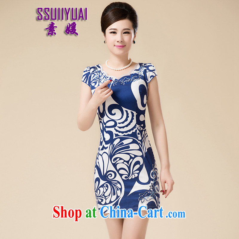 of summer-girl mothers with short-sleeved Palace Chinese qipao 2015 middle-aged beauty-yi skirt new cotton cheongsam dress graphics thin blue XXL