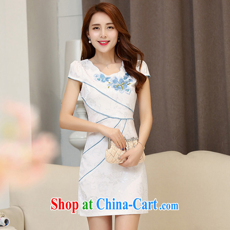Cover Story 2015 new spring and summer white Peony jacquard cotton retro daily improved cheongsam dress style women dresses white-blue XXL