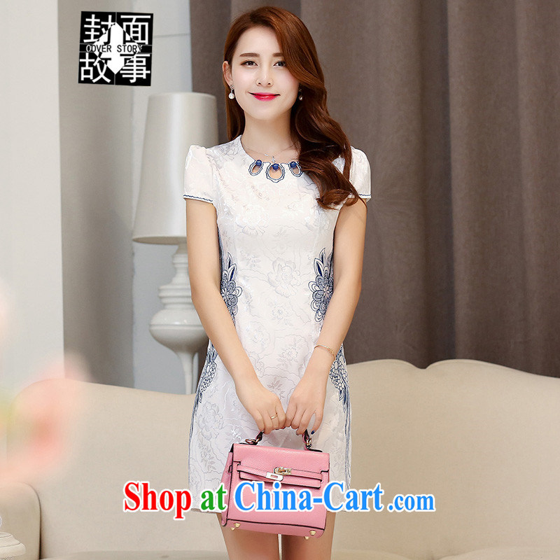 Cover Story 2015 New Spring Summer short, Retro short-sleeved improved graphics thin beauty dress female solid dresses dresses white blue XXL