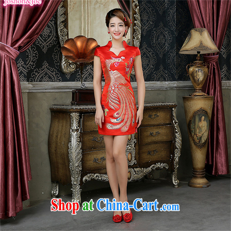 2015 new bride short bows clothes red retro dresses marriage improved cheongsam dress embroidery Brocade Phoenix elegant female Red XXL