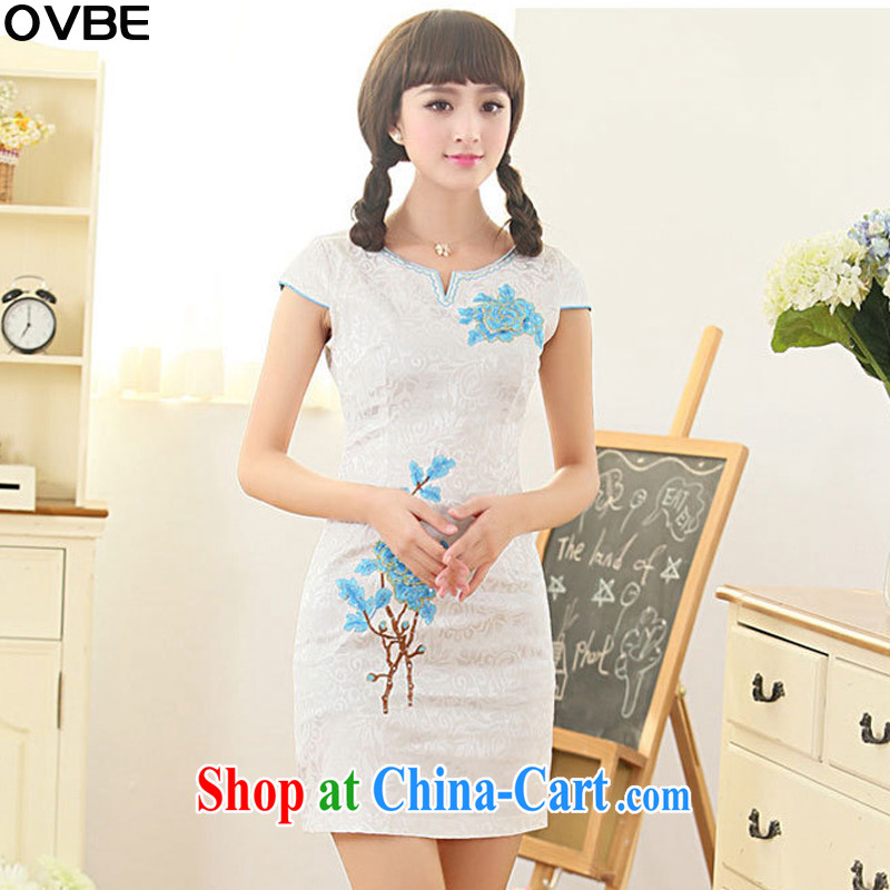 OVBE Korean version 2015 summer New Style beauty stylish and elegant and noble embroidered Chinese qipao package and dresses girls blue XL