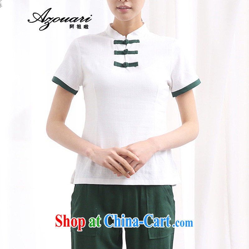 The TSU defense (Azouari) original improved daily, serving Chinese tea, service units, the Commission adopted the charge-back short-sleeve girls shirt cheongsam white XXL