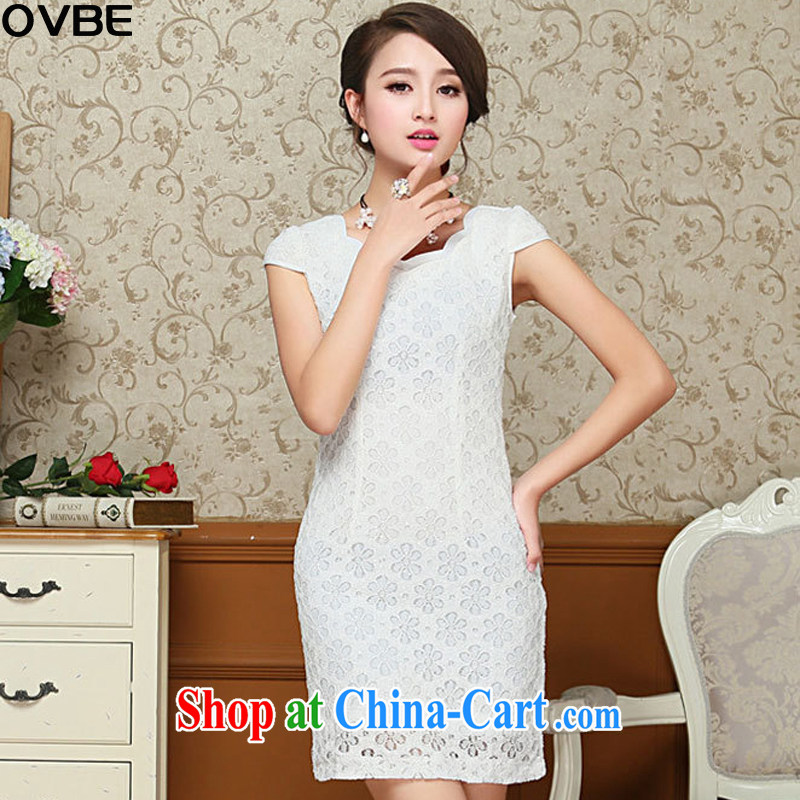 OVBE Korean version 2015 summer New Style Beauty Fashion petal collar lace Chinese qipao package and dresses female white XXL