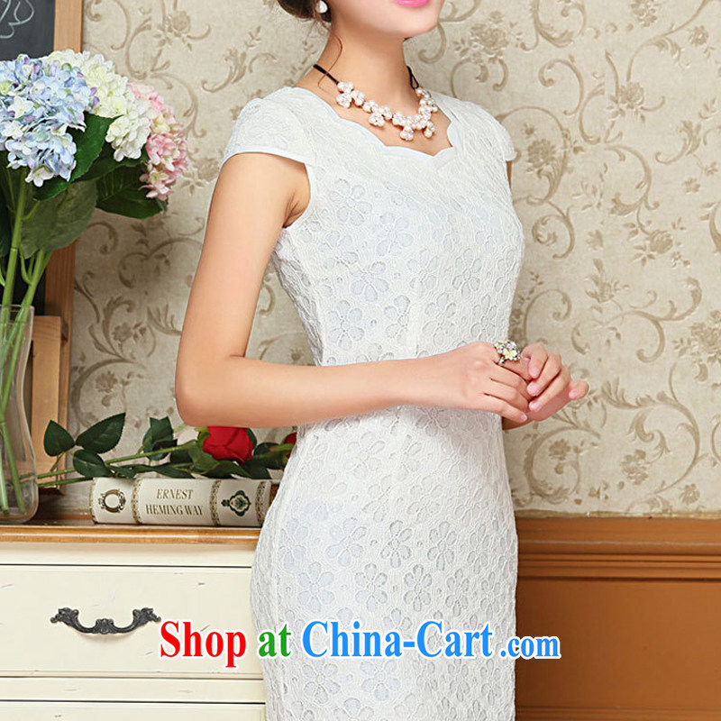 OVBE Korean version 2015 summer New Style Beauty Fashion petal collar lace Chinese qipao package and dresses female white XXL, OVBE, and shopping on the Internet