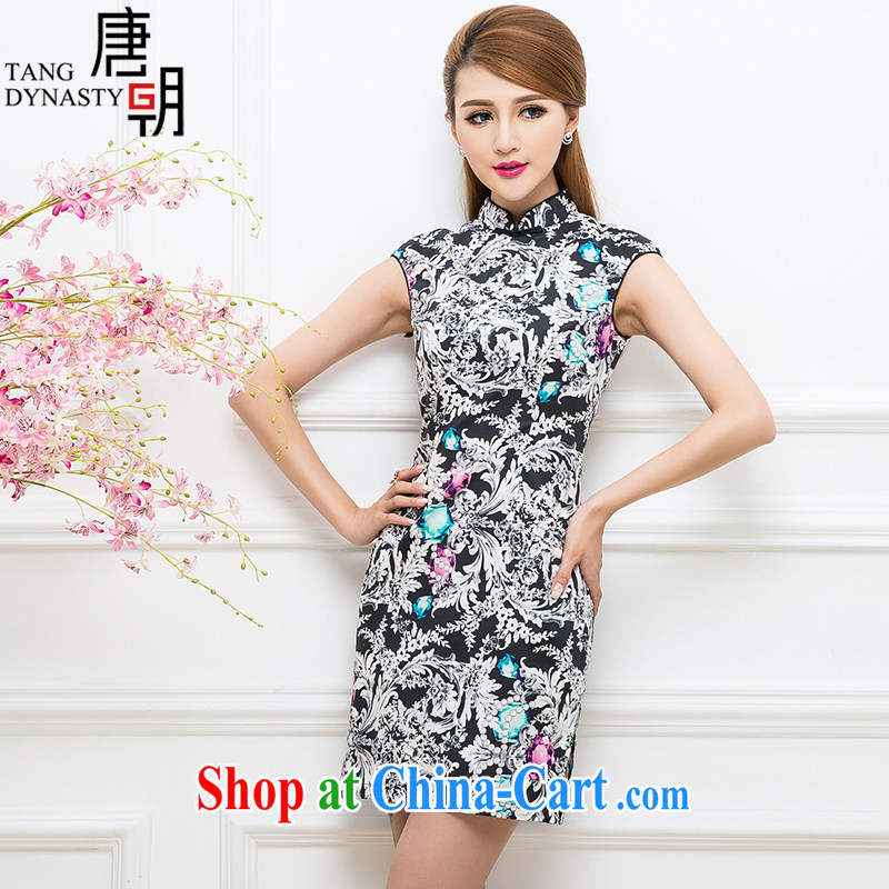 The Tang dynasty 2015 summer new female fashion-waist graphics thin improved daily cheongsam dress female TCF 30,177 black roses jewel M