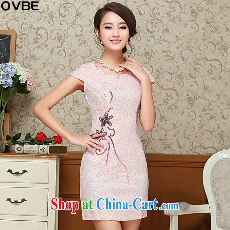 OVBE Korean 2015 summer New Style Beauty Fashion petal collar embroidery lace Chinese qipao package and dress girls pink XXL