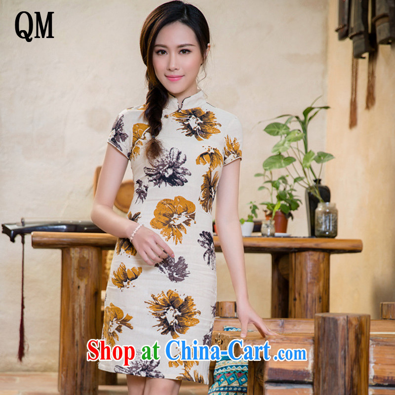 Shallow end linen arts retro style improved cheongsam campus Korea cheongsam dress JT 2088 Magnolia XXL