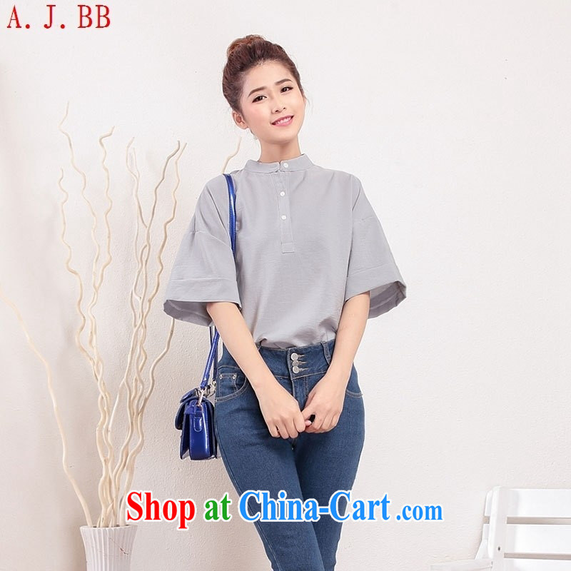 Black butterfly 93,302 _2015 summer new women short-sleeved solid-colored loose T shirt shirt female gray are code