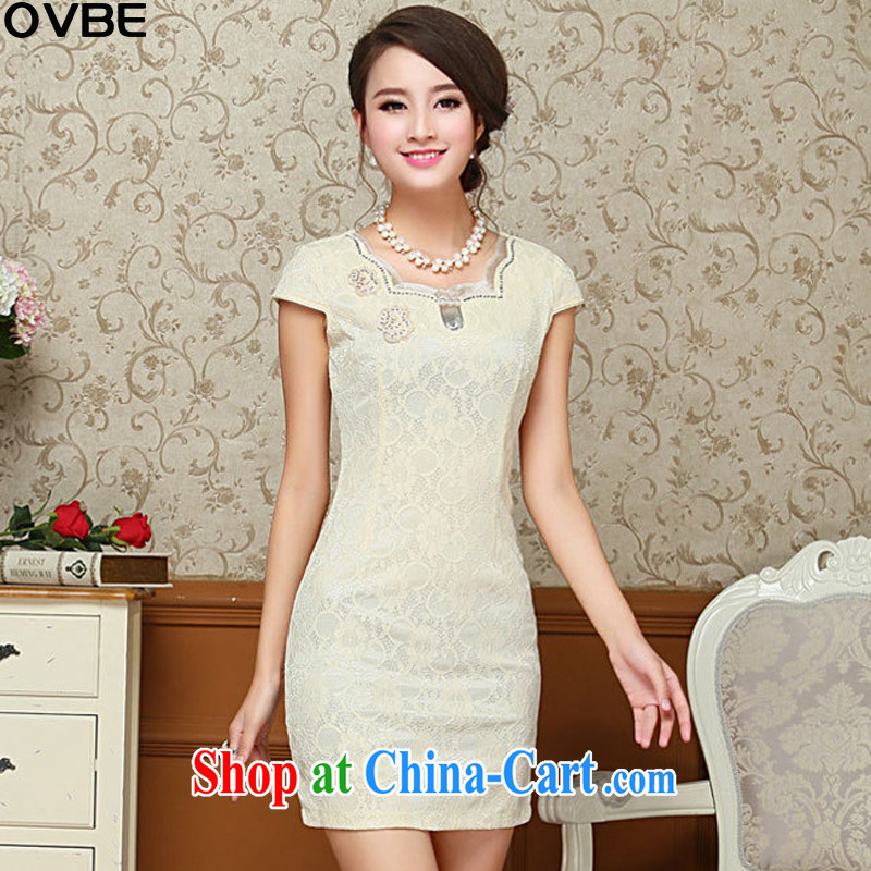 OVBE Korean version 2015 summer New Style beauty lace elegant petal collar embroidered Chinese qipao package and dresses female yellow XXL