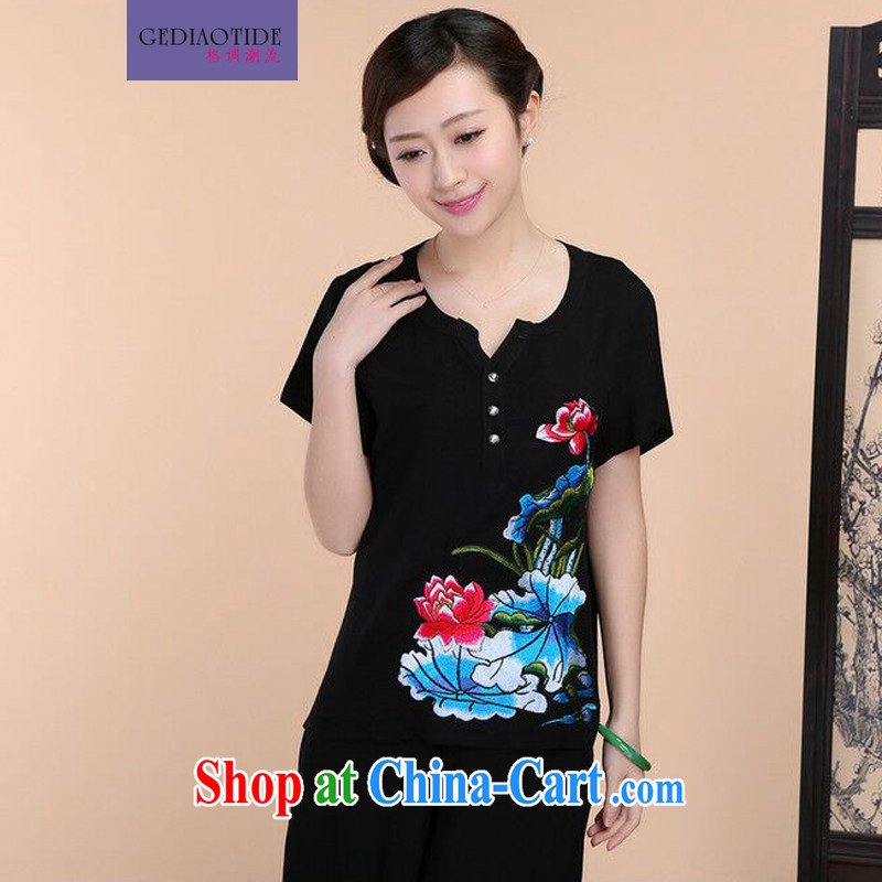 2015 summer new loose the Code, older women cotton embroidered Chinese short-sleeve T-shirt pants two-piece to sell black T-shirt XL
