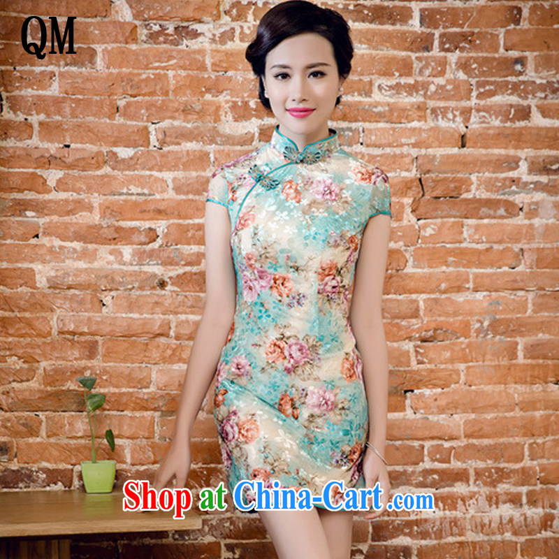 light at the Korean velvet poster stamp manual tray snap improved cheongsam dress JT 5082 honeydew XXL