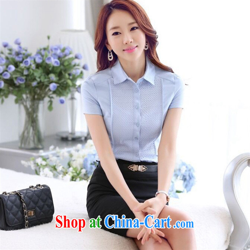 Spring 2015 Korean version of the new, leisure, Ms. Shen T-shirt with short sleeves female OL white career shirt ladies blue shirt XXXXL