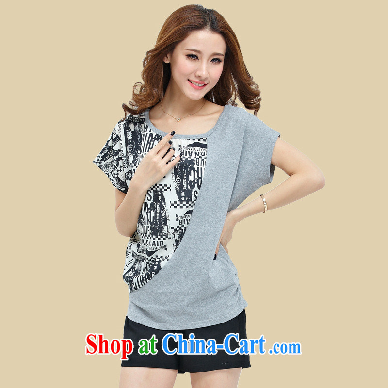 Explosions, hot 2015 summer wear thick MM large code female T pension package, pure cotton T pension gray T pension 5 XL