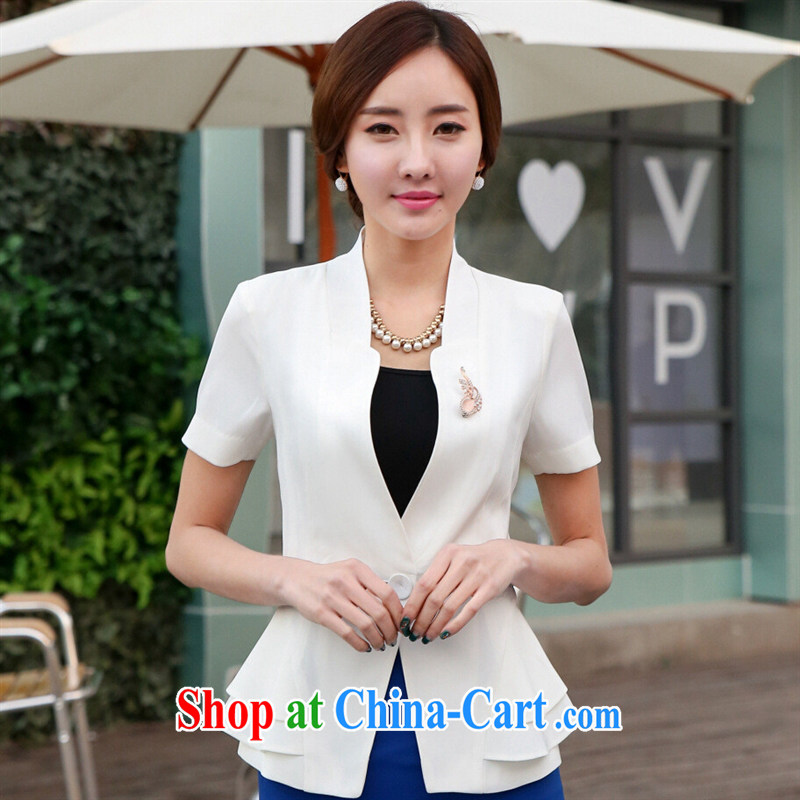 2015 spring and summer jobs, Ms. suit Korean Beauty short-sleeved OL small suit white one piece snap-short-sleeved black suit black suit XXXXL