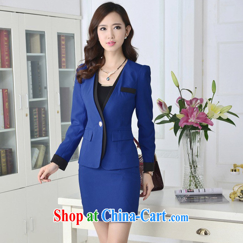 2015 spring new Korean professional women dress set OL beauty Bank Hotel Hairdresser jewelry clothing Peacock Blue jacket XXXL