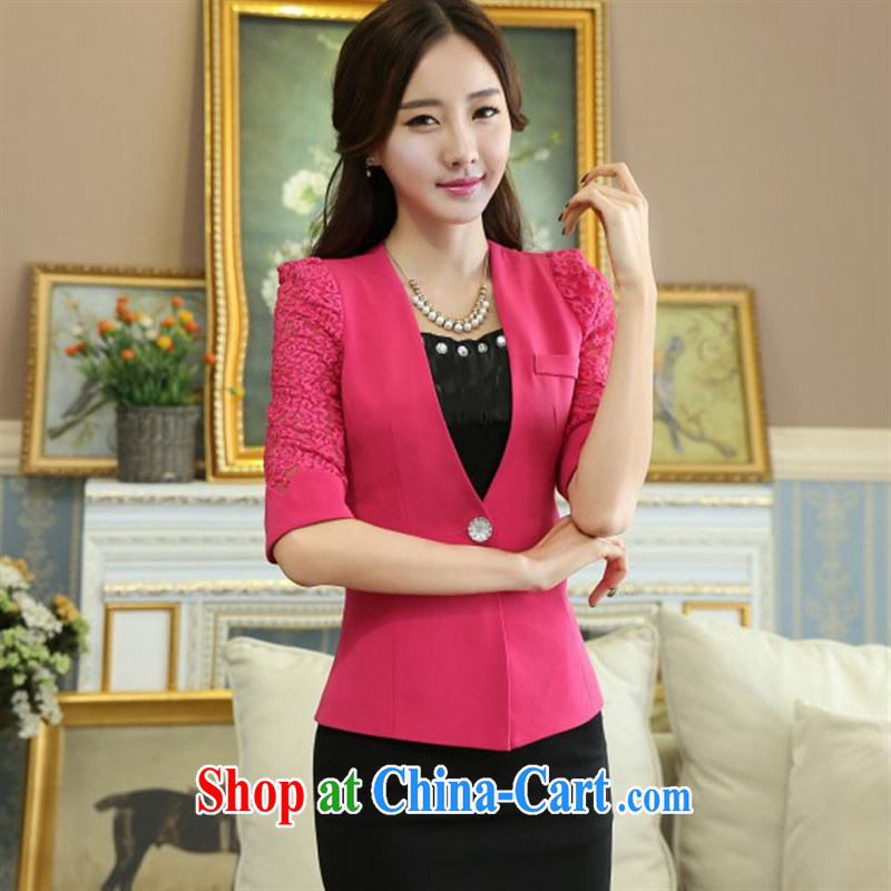 Summer 2015 new Korean version commuter female small suits OL cultivating white-collar a kernel buckle cuff jacket new black suit XXXXL