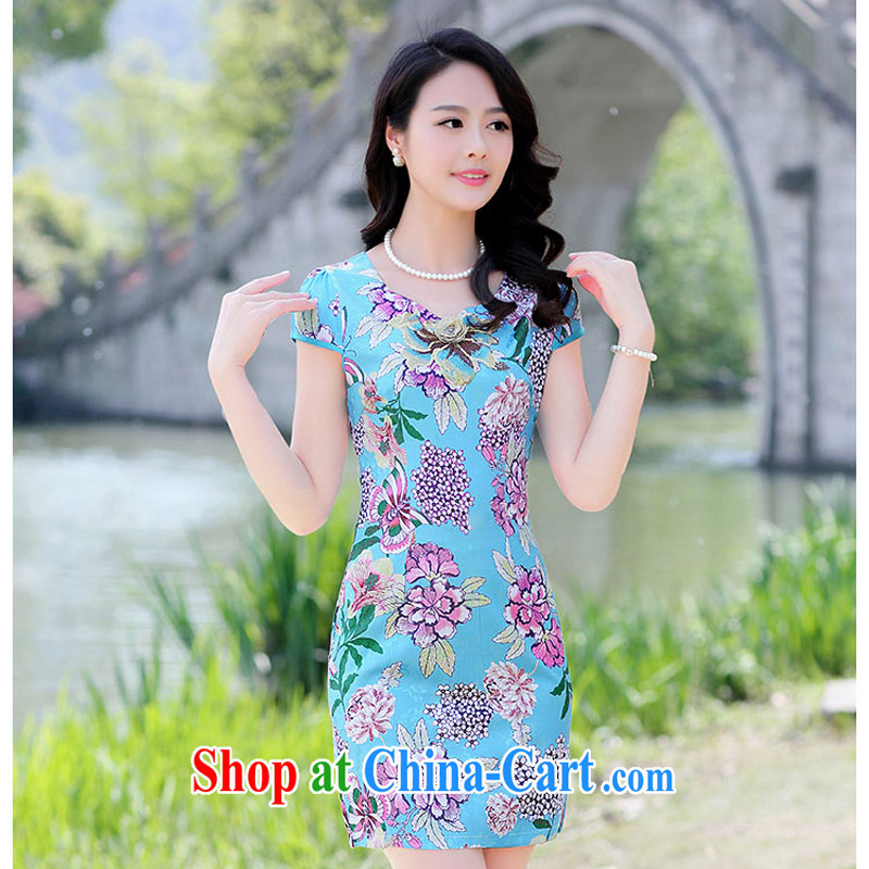 Summer 2015 new embroidery cheongsam dress girls improved daily packages and short-sleeved-waist stamp dresses 1505 green floor take XXL