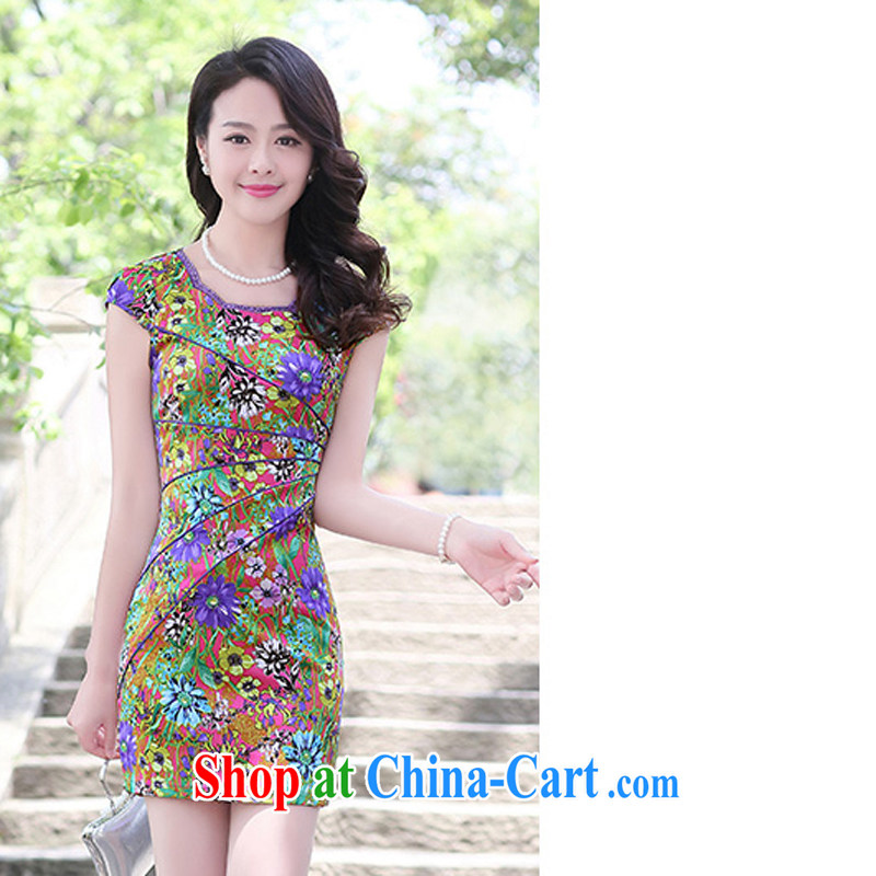 Summer 2015 new embroidery cheongsam dress girls improved daily packages and short-sleeved-waist stamp dresses of 1506 red the small virgin XXL