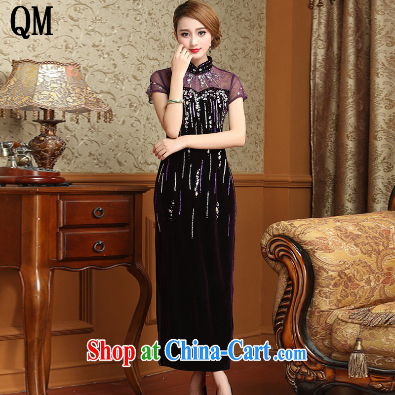 light at the long, gold velour cheongsam dress Chinese antique dresses serving toast AQE 001 purple XXXL