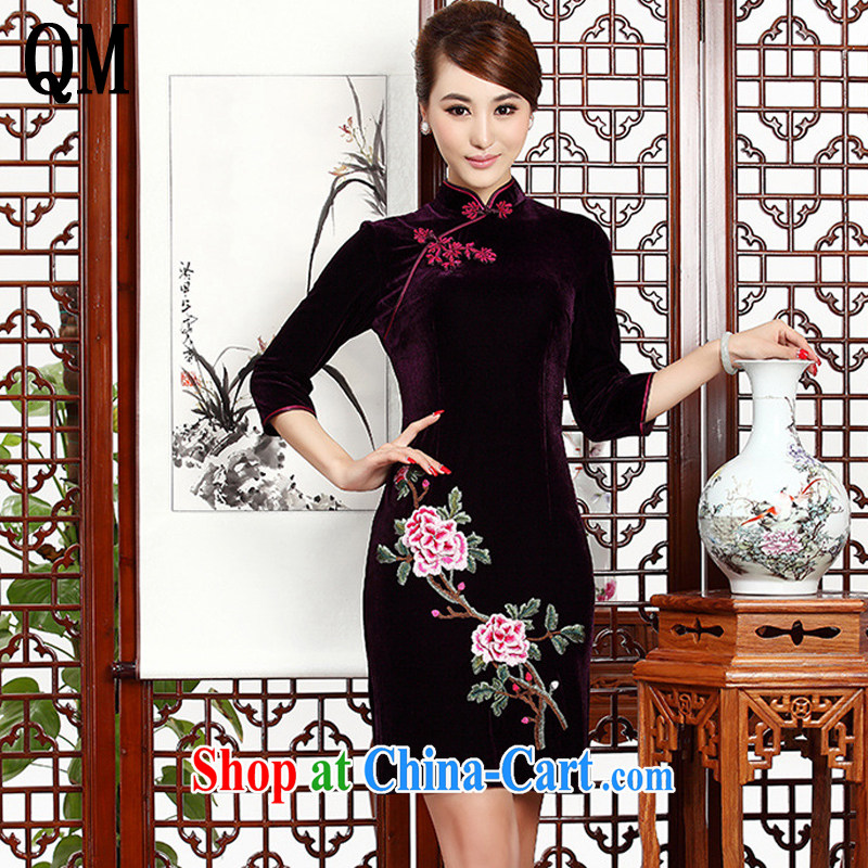The end is short, embroidery cheongsam Stylish retro MOM cheongsam dress gold velour dresses wedding dresses AQE 002 purple XXXL