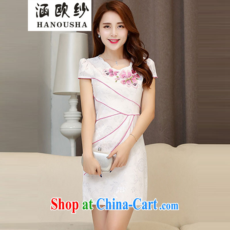 COVERED BY THE 2015 summer dress New Beauty daily Chinese Antique short-sleeve improved stylish embroidered cheongsam dress dress White Red XXL