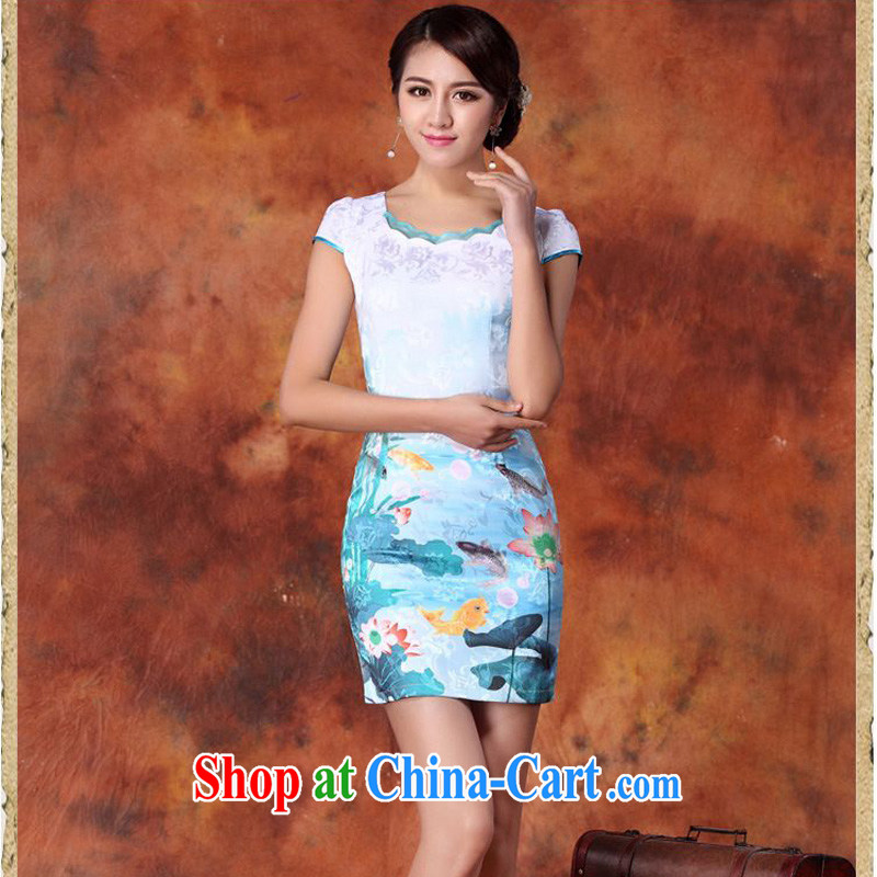 JA the 2015 summer on the new retro painting fish South lotus flower-shaped round-collar package and short cheongsam Sau San Tong load JAYT - 29 blue XXL