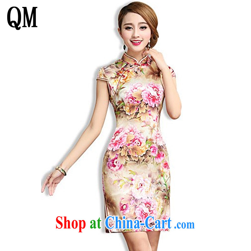 Shallow end, high-end Silk Cheongsam retro mulberry Silk Cheongsam dress Chinese Tang women AQE 003 Map Color XXL