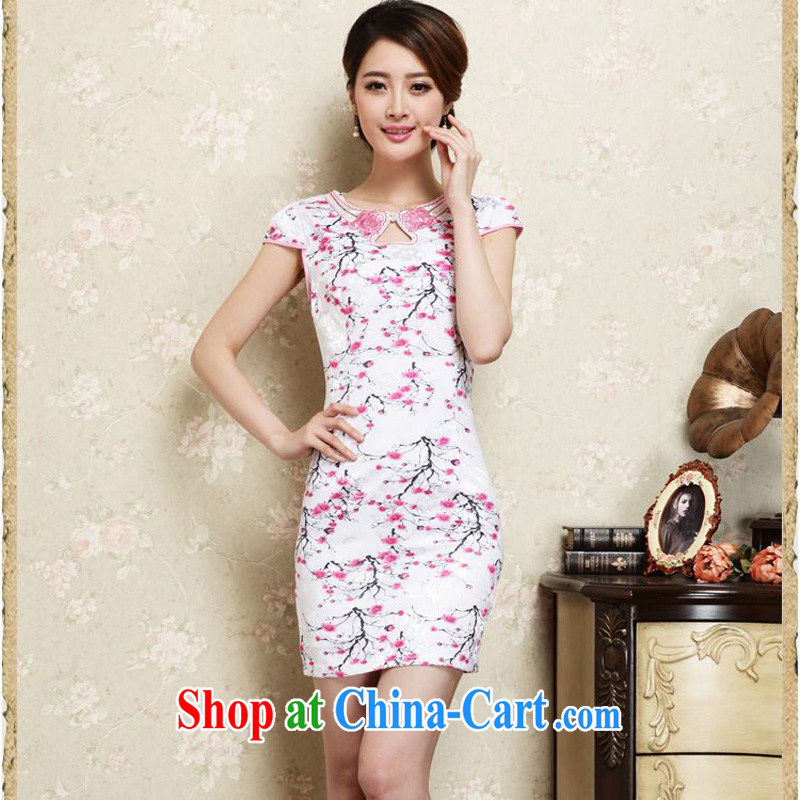 JA the 2015 summer on the new retro black Phillips-style improved cheongsam short beauty package and graphics thin cheongsam Chinese JAYT - 30 white saffron XXL