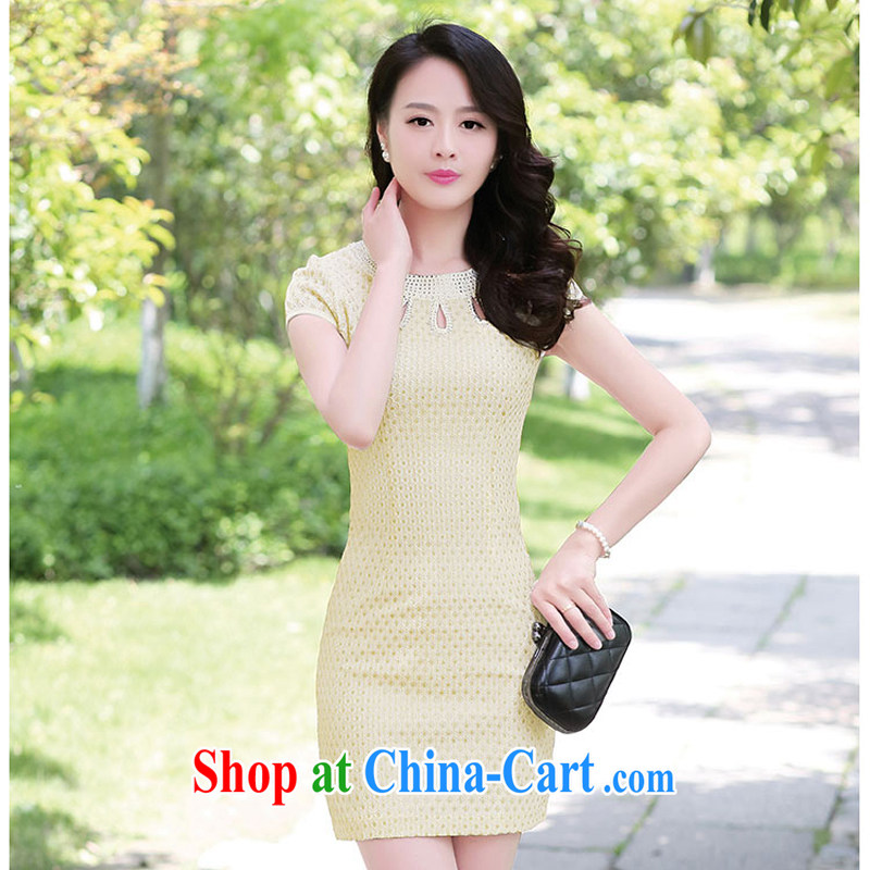 2015 summer short wave, cheongsam mom with cheongsam dress stylish girls improved Daily Beauty graphics thin style 1509 apricot XXXL