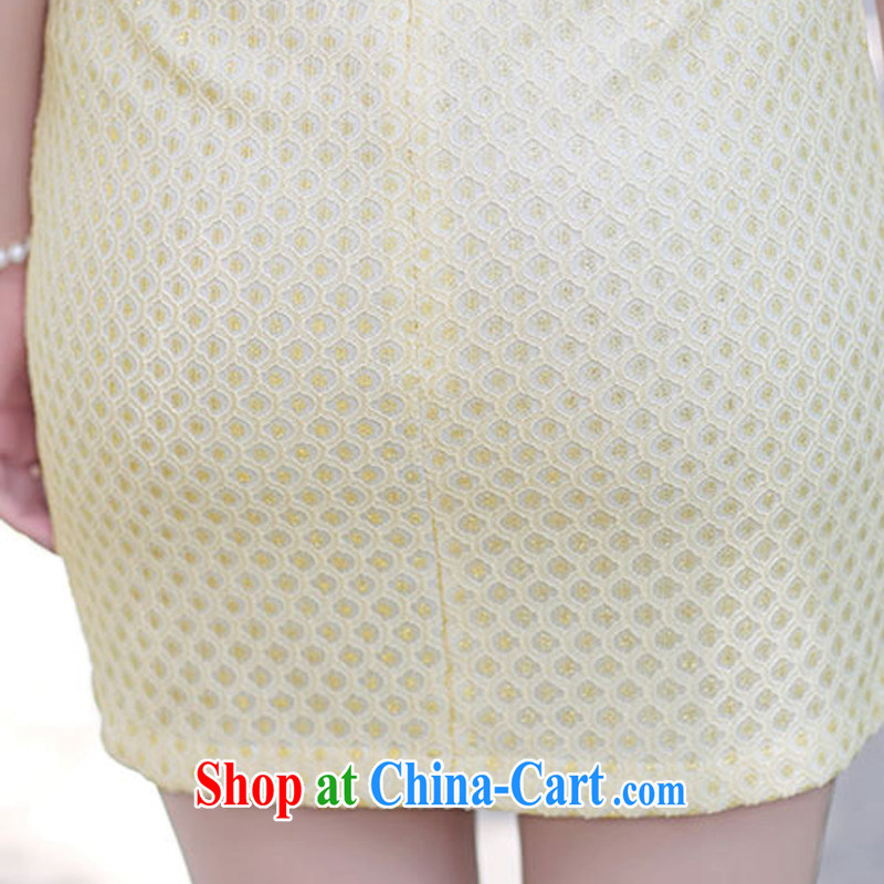 2015 summer short tide cheongsam mom with cheongsam dress stylish girls improved Daily Beauty graphics thin style 1509 apricot XXXL de Gil (SHAJINI), and, on-line shopping