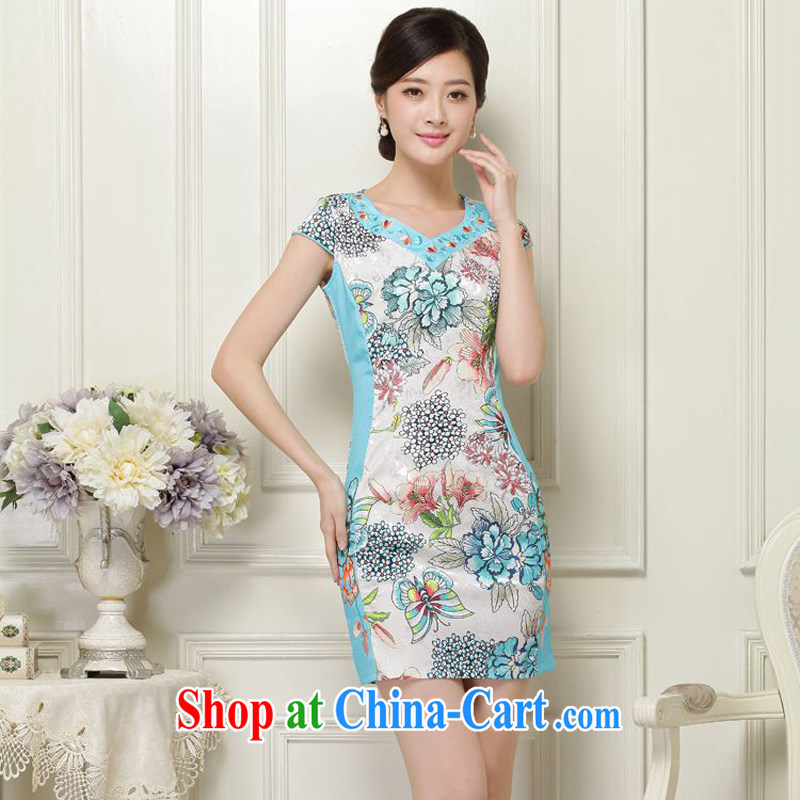 JA the 2015 summer on the new retro floral V collar short-sleeve without the forklift truck with skirt package and short cheongsam Sau San Tong load JAYT - 31 aquamarine XXL