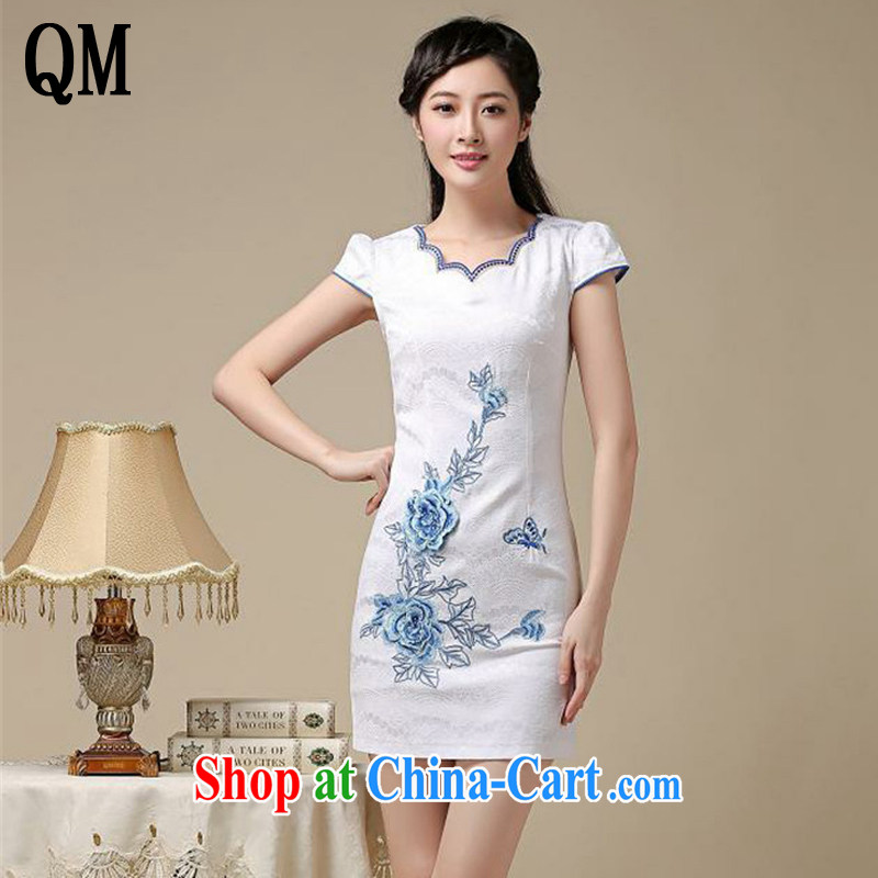 light at the teenage students with classical show clothes dresses summer retro improved daily cheongsam dress AQE 8216 blue XXL