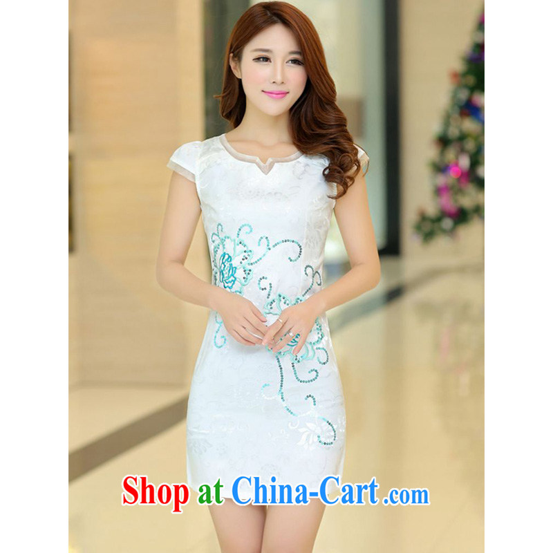 JA the 2015 summer on the new lady fashion improved cheongsam lace round-collar, flower cultivation short cheongsam Chinese JAYT - 32 white XL