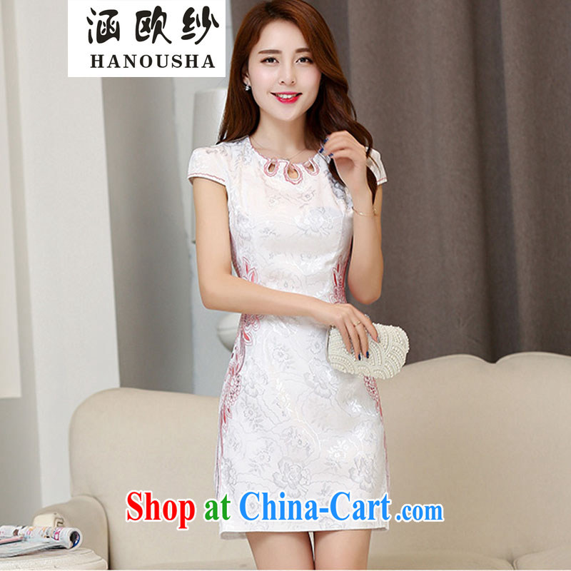 covered by the yarn-day cheongsam dress short 2015 new dresses spring and summer with improved stylish beauty large code female toast clothing White Red XXL