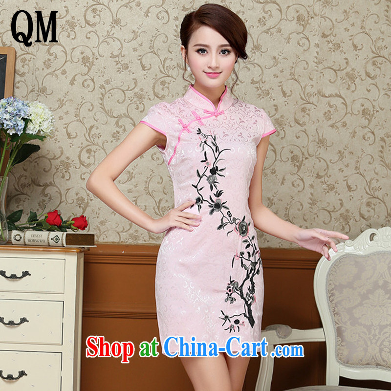 Light the elegance and feel short cheongsam improved daily white embroidered retro ethnic wind female AQE 9020 pink XXL