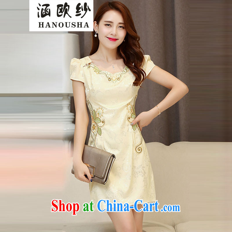 COVERED BY THE 2015 new dresses spring and summer with improved stylish short retro dresses dresses day dresses skirt dress apricot XXL