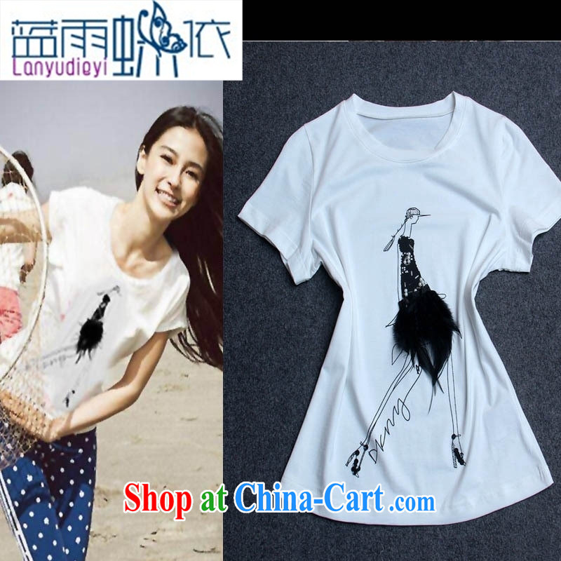 Ya-ting store stars with round-collar short-sleeve pin feather female T shirt T-shirt woman with burglary, summer girl Y 37,453 white L