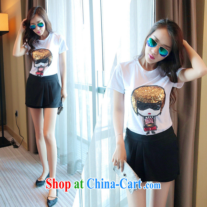 The European site summer 2015 women new cute little nails Pearl stamp round-collar short-sleeve shirt T 3595 white XL