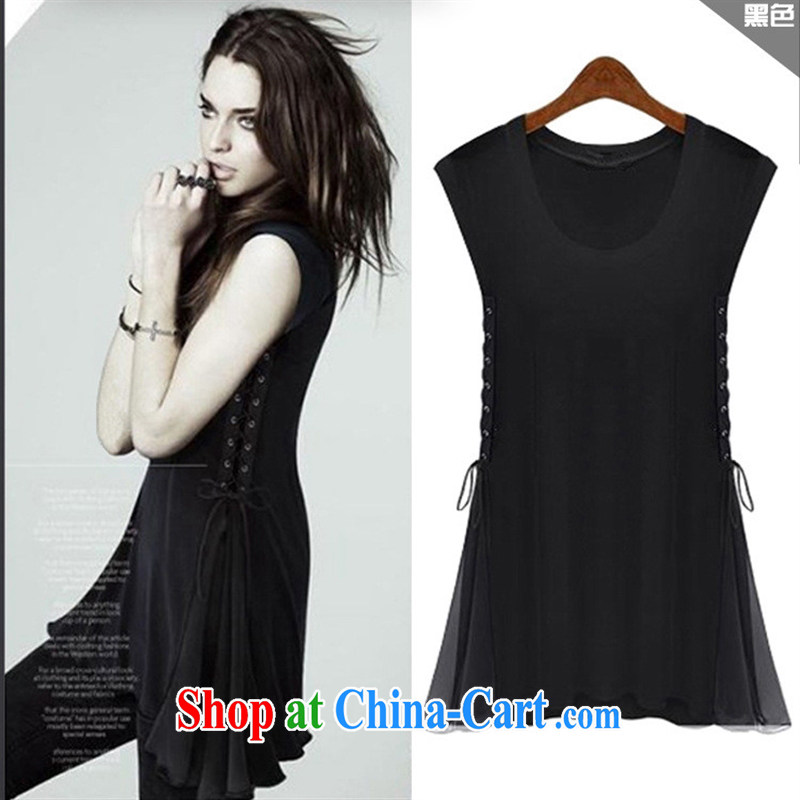 The European site summer 2015 New T pension Europe female new sleeveless stitching T pension 3940 black XL