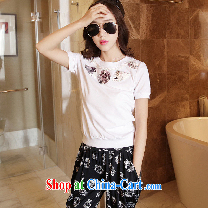 The European site summer 2015 women with new stylish 100 ground round-collar short-sleeve shirt T 3116 white XL, the day to assemble (meitianyihuan), shopping on the Internet