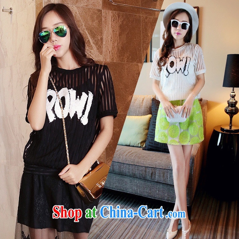 The European site summer 2015 women new Openwork stripes round-collar short-sleeve shirt T 3110 white XL