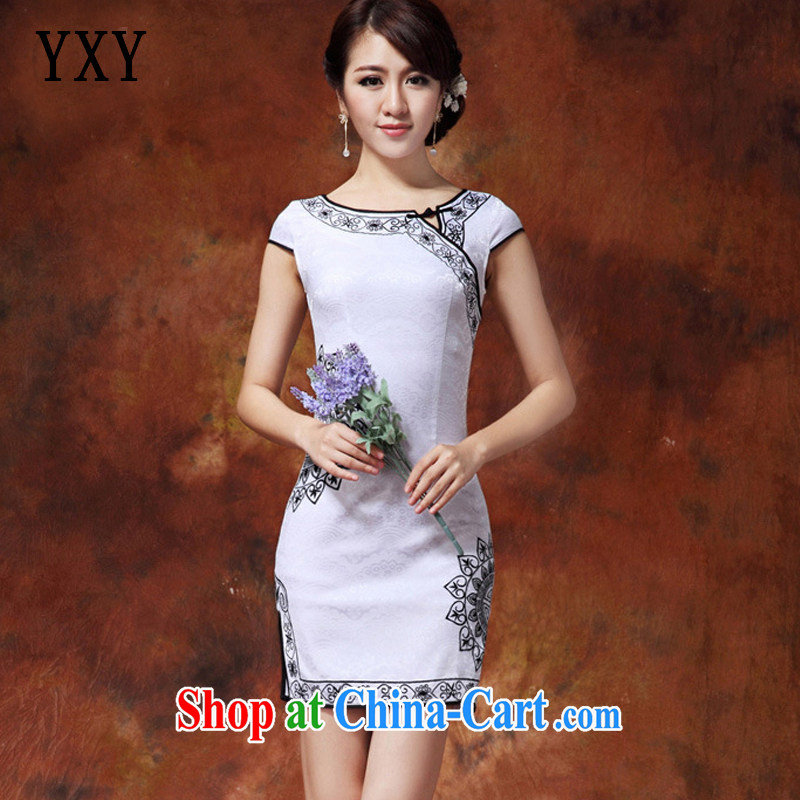 At stake line cloud National wind women improved Chinese Pipa flap-in Lao long cheongsam JT 920 White Black XXL