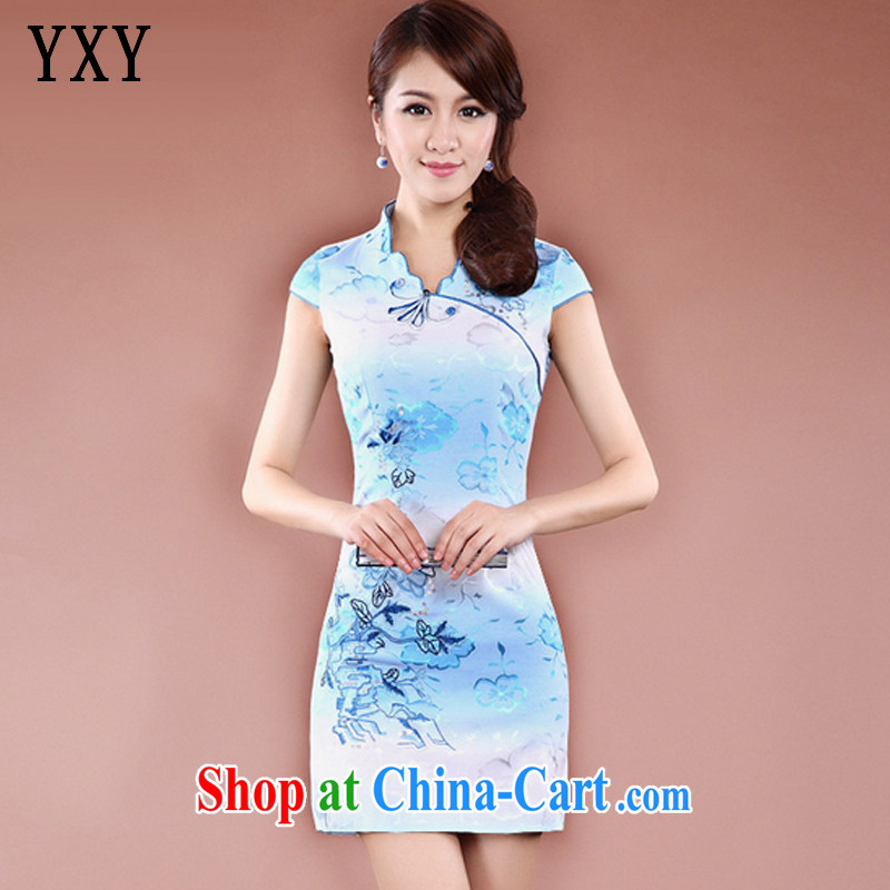 Stakeholders line cloud National wind stylish improved cheongsam short cheongsam elegant qipao JT 908 blue XXL