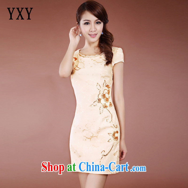 Stakeholders line cloud stylish improved cheongsam Chinese Ethnic Wind no voters, long, elegant qipao dresses JT 909 apricot XL