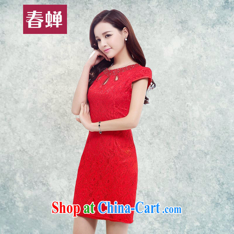 Silent Spring red bridal replacing 2015 summer short cheongsam dress lady beauty with graphics thin short-sleeved elegant luxury lace dresses 6398 red XXL